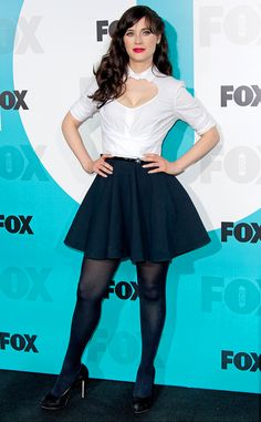 Zooey Deschanel Shows Off Her Sexy Side At Fox Upfronts Zooey Deschanel Style, Zoey Deschanel, In Pantyhose, Nylons, Pantyhose Outfits, Navy Shirt Dress, Blue Tights, Great Legs, Tights Outfit