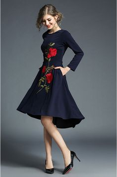 1950s Inspired Long Sleeves Floral Embroidered High Low Dress