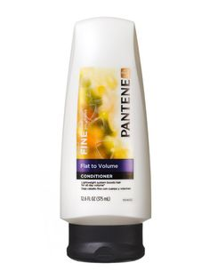 Pantene Pro-V Fine Hair Solutions Flat to Volume Conditioner-- four dollars and ninty nine cents. Isn't heavy so it won't weigh the hair down. It is really the shampoo that adds volume, this conditioner does not take that added volume away (provided you don't use too much, but that goes for any conditioner.) As with any conditioner you have to leave it on at least two mins. or you are wasting your money..it won't do a thing if you don't leave it on at least that long.