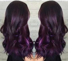 Do you want dark purple hair color? We have pictures of Amazing Dark Purple Hair Color Ideas that will inspire the purple diva in you! Long Purple Hair, Dark Purple Hair Color, Ombre Hair Color, Purple Ombre, Dark Violet Hair, Plum Hair Colors, Spring Hair Colors, Hair Color Ideas For Dark Hair, Rich Hair Color