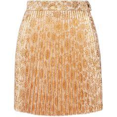 Antonio Berardi Floral Printed Pleated Mini Skirt ($798) ❤ liked on Polyvore featuring skirts, mini skirts, gold, gold skirt, gold mini skirt, beige mini skirt, floral print mini skirt and pleated mini skirt