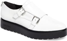 Calvin Klein Women's Shoes in Platinum Leather Color. A lugged platform sole updates a sophisticated, menswear-inspired loafer finished with a double monk strap. #CalvinKlein #platinum #shoes #fashion #style