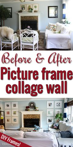 Wall of DIY picture frames surrounding a fireplace... great way to display family photos or art!