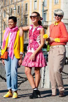 Ahhhhh YES! Spring is coming!!!Tamu McPherson, Natalie Joos and Elisa Nalin at Roberto Cavalli