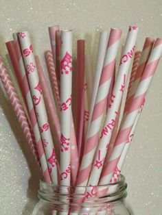 GIRL BABY SHOWER IDEAS 50 PRINCESS PAPER STRAWS  Pink Crown Stripes by IvanasGiftsNThings, $5.99