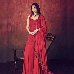 Red georgette heavy embroidered threadwork bollywood sharara salwar suit - Sarara fabric:-Georgette(full stitch)Sarara Inner Fabrice:-SilkSarara Colour:-MaroonSarara Sarara to Work:-Ready Fancy LaceSarara MtrTop Fabri Indian Bridal Wear, Indian Wedding Outfits, Indian Wear, Indian Outfits, Bridal Outfits, Bridal Dresses, Girls Dresses, Indian Gowns, Indian Attire