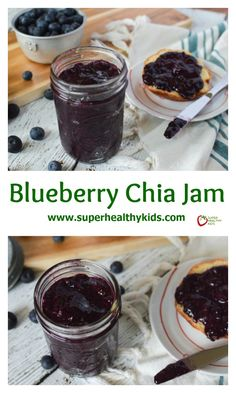 Blueberry Chia Seed Jam. No preservatives, all fruit, so yummy on toast, bagels and pb&j!! http://www.superhealthykids.com/blueberry-chia-jam-recipe/