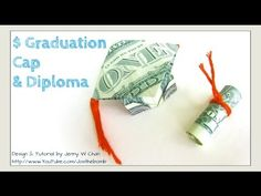DIY How to Fold $2 Money Origami Graduation Cap & Diploma - Dollar Origami - Graduation Gift Idea