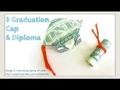 DIY How to Fold $2 Money Origami Graduation Cap & Diploma - Dollar Origami - Graduation Gift Idea - YouTube