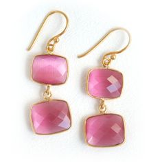 24kt Gold Pink Quartz Whitten Earwire Earrings by Addison Weeks