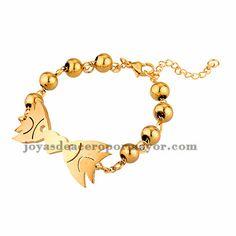 brazalete de bola dorado con dos pescado en acero inoxidable -SSBTG954070