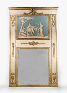 Neoclassical 18th C. Trumeau Mirror With Inset Phanolith en Verdaille from piatik on Ruby Lane
