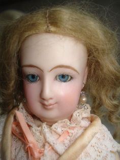 """Antique Reproduction Bru Bisque Head French Fashion Doll Kid 13"""" Clothing Dress 
