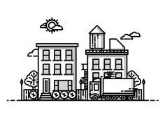 Line illustration - vector Outline Illustration, Building Illustration, Graphic Design Illustration, City Vector, Vector Art, Line Design, Icon Design, Flat Design, City Icon