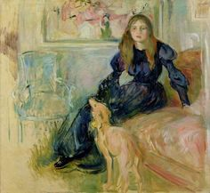 "amare-habeo: "" Berthe Morisot (French, 1841 - 1895) Julie Manet and Her Greyhound Laerte, 1893 Musée de Marmottan Paris, France """