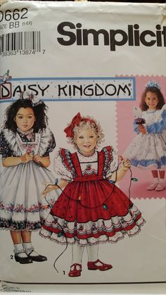 Samantha's Birthday Dress and Pinafore Simplicity 0662 Daisy Kingdom pattern sizes 5 to by almostCouture