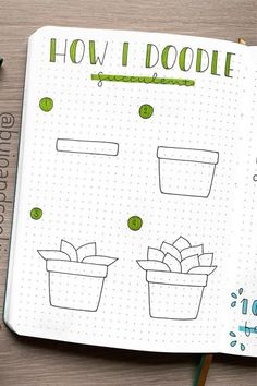 25 Best Succulent & Cactus Doodle Ideas For Bujo Addicts - Crazy Laura - bullet journal - 20 Creative step by step cactus and succulent doodle ideas for your bullet journal - Bullet Journal Writing, Bullet Journal Banner, Bullet Journal Aesthetic, Bullet Journal Ideas Pages, Bullet Journal Inspiration, Bullet Journal For Kids, Easy Doodle Art, Easy Doodles, Cactus Doodle