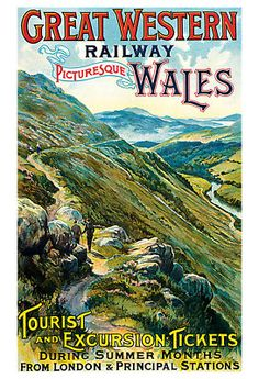 Painting - Picturesque Wales - Landscape Painting - Great Western Railway - Vintage Poster by Studio Grafiikka , Old Poster, Retro Poster, Vintage Poster, Poster Ads, Advertising Poster, Vintage Travel Posters, Vintage Postcards, Poster Prints, Posters Uk