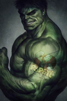 In my head canon, the Hulk definitely has a Popeye tattoo. This drawing is awesome.