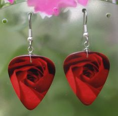 Summer Flowers Guitar Pick Earrings - Your choice Sunflowers, Roses, Daisies, Hibiscus. $6.00, via Etsy.