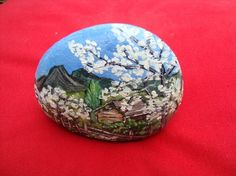 Galet peint peinture paysage miniature à l'huile Pierre Multicolore