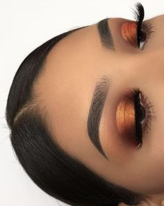 Glow makeup, copper eyeshadow, orange eye makeup, orange vibe, girl, makeup, cute girls, orange eyeshadow, hottest eyeshadow, eyebrows makeup. Credits: unknown. Pinterest: skywalkereleven.