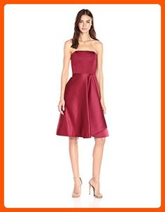 HALSTON HERITAGE Women's Strapless Dress with Flared Skirt, Dahlia, 8 - All about women (*Amazon Partner-Link)