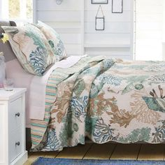BEAUTIFUL EXOTIC TROPICAL GREY BLUE GREEN OCEAN COTTON MODERN FLORAL QUILT SET
