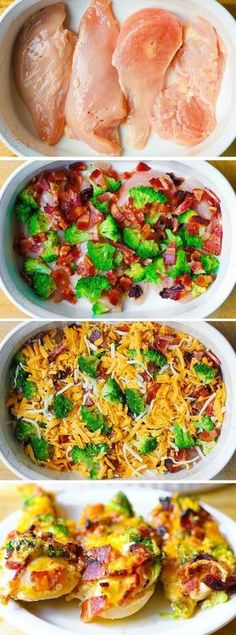 If you love chicken and bacon recipes (and who doesn't?), you will really enjoy this easy Broccoli Bacon Cheddar Chicken dinner. Just throw everything on top of chicken in casserole dish, and then bake in Broccoli Bacon Recipe, Broccoli Cheddar Casserole, Broccoli Cheddar Chicken, Chicken Broccoli Cheese, Broccoli Recipes, Chicken Bacon Cheddar Recipe, Chicken Bacon Casserole, Broccoli Salad, Cheddar Cheese