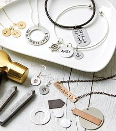 Silver Washer Names Hand Stamped Necklace | DIY Jewelry