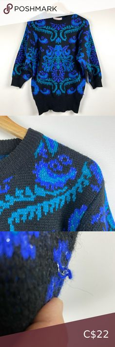 Vintage Oversize Metallic Sweater Two tone blue. Metallic threads run throughout. Some pilling & a few picks. Price reflects. Acrylic nylon blend. Vintage sizing is sometimes very different than modern. Not sure if it will fit? Measure a similar item in your own closet to compare before purchasing. Measured laying flat. Vintage items usually have flaws & I do my best to disclose. Pit to pit 20 Shoulder to hem 28 Sleeves 19 drop shoulder Vintage Sweaters Gold Cardigan, Fleece Sweater, Vintage Knitting, Vintage Sweaters, Vintage Ladies, Vintage Items, Flaws, Metallic, Drop