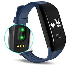 Kassica Waterproof Healthy Fitness Tracker with Heart Rate monitor Activity Smart Bracelet Wireless Wristbands Bluetooth Smart Watch Pedometer for IOS Android SmartPhone IPAD/Iphone (Blue) -- You can find out more details at the link of the image.