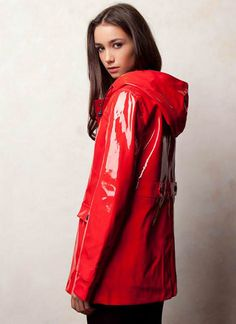 A ravishing shiny red raincoat, perfect to wear out or just around the house too! ;)