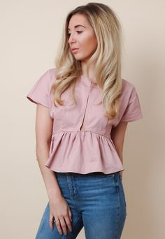 Cropped Wrap Top - Pink