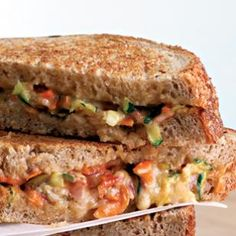 Southwestern Cheese Panini:  Lots of colorful vegetables and salsa make this cheesy panini prettier than any grilled cheese you've ever seen. The small amount of Cheddar cheese in this sandwich goes a long way because it is shredded and sharp.