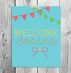 Printable Art  Welcome Spring  Instant by ScubamouseStudiosJr, $5.00
