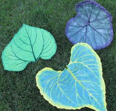 One of a kind Concrete Leaf Hand painted leaf by LindasYardArt,