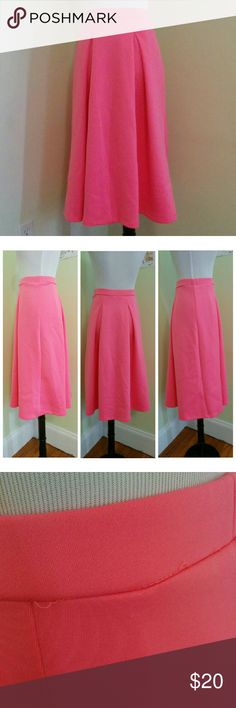 ASOS hot pink scuba neoprene midi neon Neon pink pleated midi skirt in scuba fabric. Elastic waist. Some popped stitching at waist. Marked UK 8 and EU 36 in addition to US 4. (Group J.) ASOS Skirts Midi