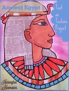 Teach art with Ancient Egypt project for using text as texture. via Harrington Harrmonies @hharmonies #art