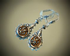 Antique Victorian Cut Steel Picture Button Earrings, Victorian Style