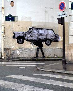 LEVALET -Enlèvement Encre de chine sur kraft sur mur.