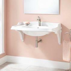 "35"" Janson Wall-Mount Bathroom Sink with Porcelain Brackets - Single Hole"