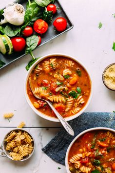 PERFECT 1-Pot Vegan Minestrone! Vegetables, beans, pasta, SO delicious and healthy! Minestrone Soup Recipe ~ Vegan, Guten-free ~ Minimalist Baker