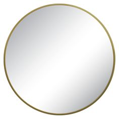 Perfect for brightening up a dark corner, Threshold's Round Mirror brings a modern touch with its thin metal frame and gleaming brass finish. It complements a variety of furniture shapes and styles. Hang this wall mirror over a bathroom sink or in the entryway to add light, depth and dimension.