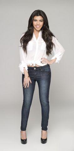 Kim, Kourtney and Khloe team up to unveil new range of jeans to fit those Kardashian kurves Kourtney Kardashian, Kim Khloe Kourtney, Kardashian Kollection, Kardashian Style, Kardashian Clothing, Kardashian Fashion, 80s Fashion, Star Fashion, Love Fashion