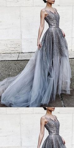 Shining Gray Tulle Sequins Round Neck Long Prom Dress With Belt ,Train Dresses,PDY0363#prom dress#