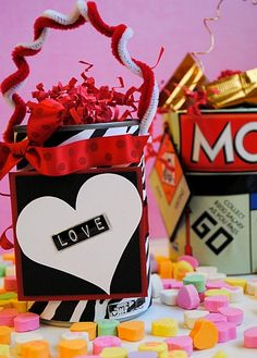 We could finally use thise coffee cans!  Handmade Valentines Craft Using Tin Cans