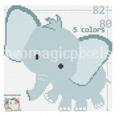Elephant graph crochet pattern instant PDF by TwoMagicPixels Graph Crochet, Crochet Rug Patterns, C2c Crochet, Crochet Blocks, Crochet Baby, Free Crochet, Corner To Corner Crochet Pattern, Crochet Elephant, Baby Elephant