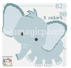 Elephant c2c graph crochet pattern; instant PDF download; baby blanket, corner to corner, afghan, graphghan