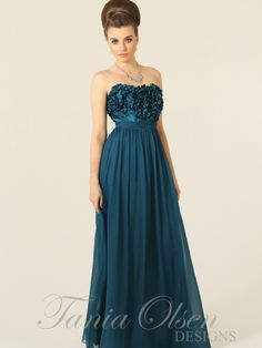 Teal silk evening dress by Tania Olsen